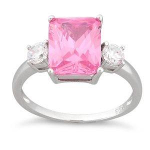Sterling Silver Triple Rectangular Pink CZ Ring